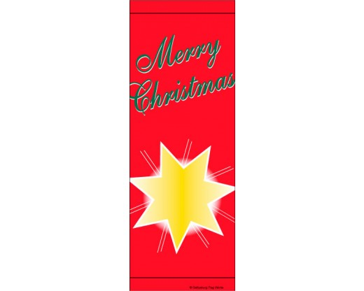 Merry Christmas Star Avenue Banner - Red