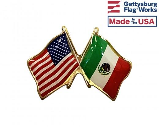Mexico Lapel Pin (Double Waving Flag w/USA)