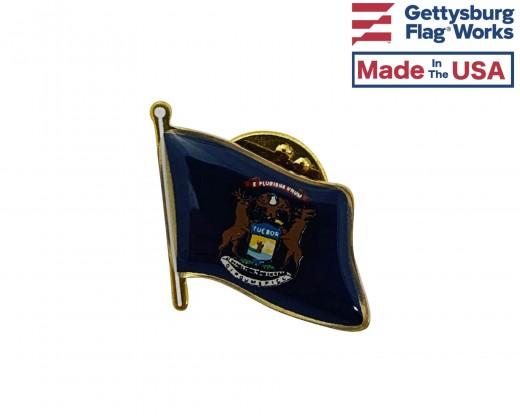 Michigan State Flag Lapel Pin (Single Waving Flag)