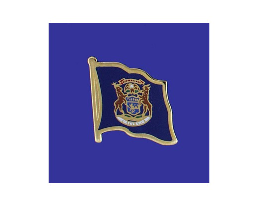 Michigan State Flag Lapel Pin (Single Waving Flag) (Imported - Close Out)
