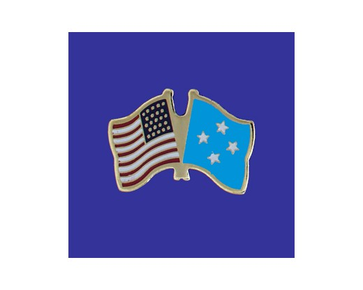 Micronesia Lapel Pin (Double Waving Flag w/USA)