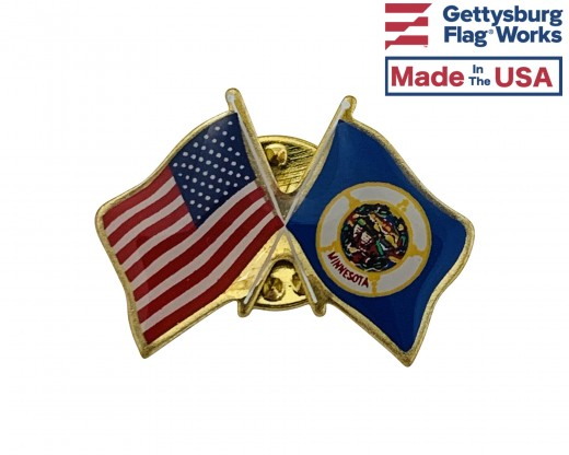 Minnesota State Flag Lapel Pin (Double Waving Flag w/USA)