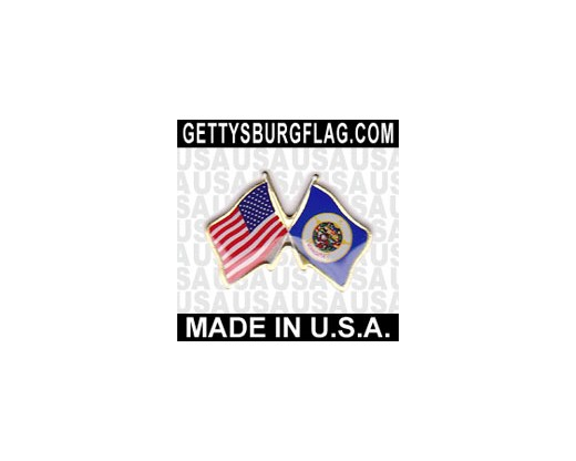 Minnesota State Flag Lapel Pin (Double Waving Flag w/USA)