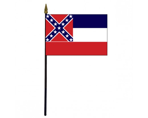 Mississippi State Stick Flag - 4x6""
