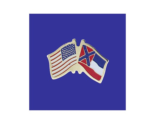 Mississippi State Flag Lapel Pin (Single Waving Flag) (Imported - Close Out)
