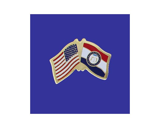 Missouri State Flag Lapel Pin (Single Waving Flag) (Imported - Close Out)