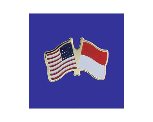 Monaco Lapel Pin (Double Waving Flag w/USA)