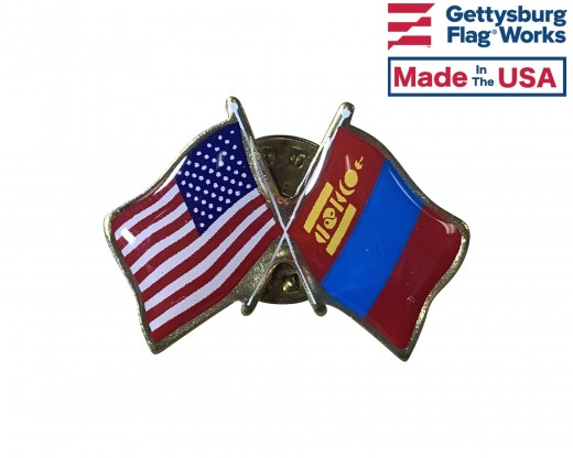 Mongolia Lapel Pin (Double Waving Flag w/USA)