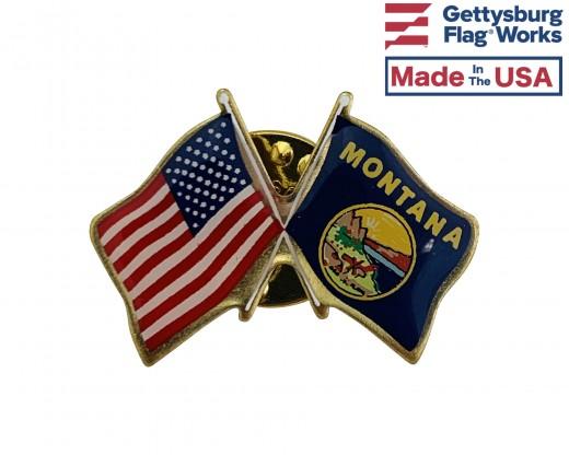 Montana State Flag Lapel Pin (Double Waving Flag w/USA)
