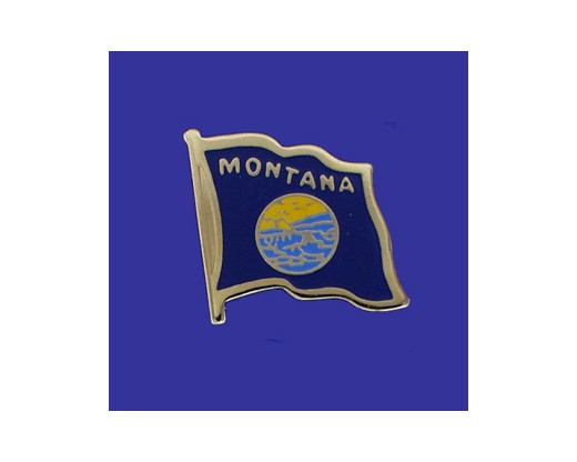 Montana State Flag Lapel Pin (Single Waving Flag) (Imported - Close Out)