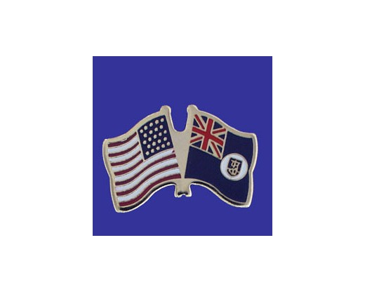 Montserrat Lapel Pin (Double Waving Flag w/USA)