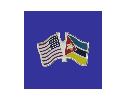 Mozambique Lapel Pin (Double Waving Flag w/USA) (Imported - Close Out)