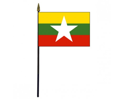 Myanmar Stick Flag - 4x6""