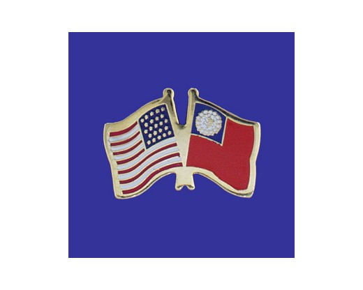 Myanmar Lapel Pin (Double Waving Flag w/USA)