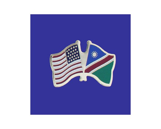 Namibia Lapel Pin (Double Waving Flag w/USA)