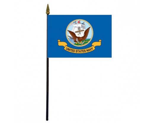 Navy Stick Flag (plastic) - 4x6""