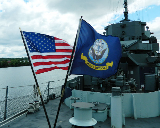 Navy flag on the deck of the USS Slater