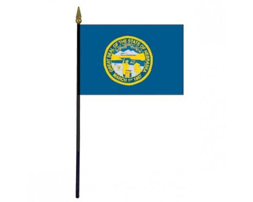 """Nebraska State Stick Flag - 4x6"""""""