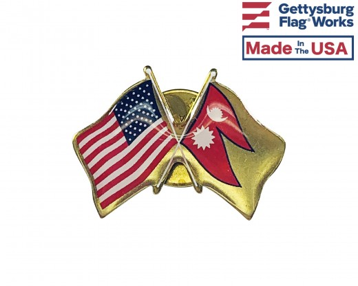 Nepal Lapel Pin (Double Waving Flag w/USA)