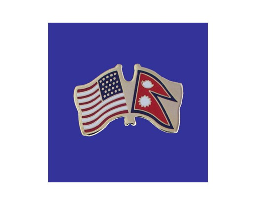 Nepal Lapel Pin (Double Waving Flag w/USA)