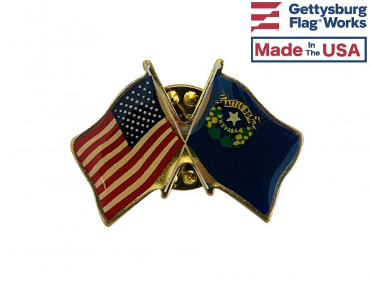 Nevada State Flag Lapel Pin (Double Waving Flag w/USA)