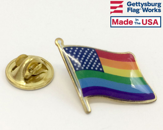 New Glory Rainbow Waving Flag Lapel Pin