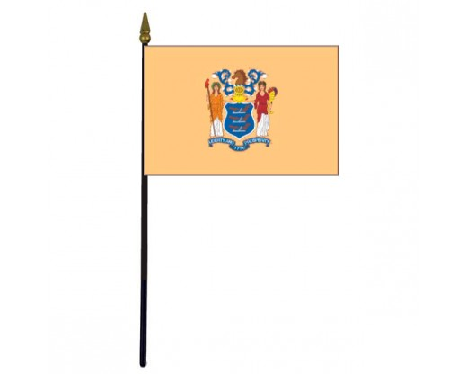 New Jersey State Stick Flag - 4x6""