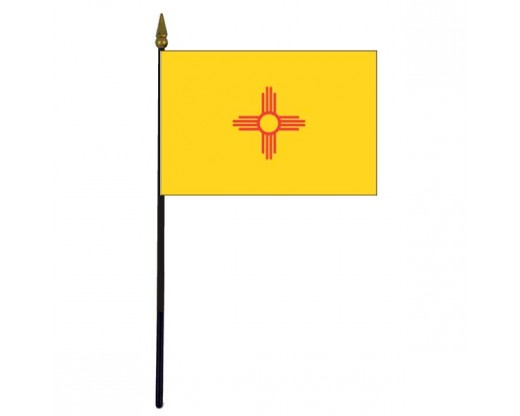 New Mexico State Stick Flag - 4x6""