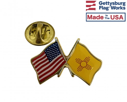 New Mexico State Flag Lapel Pin (Double Waving Flag w/USA)