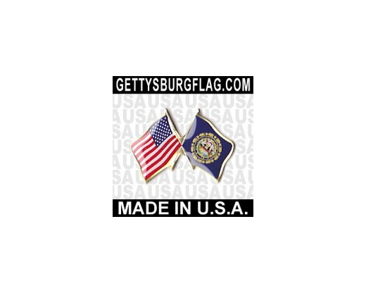 New Hampshire State Flag Lapel Pin (Double Waving Flag w/USA)