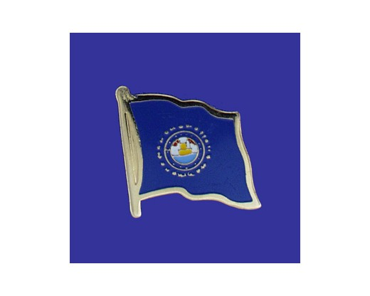 New Hampshire State Flag Lapel Pin (Single Waving Flag) (Imported - Close Out)