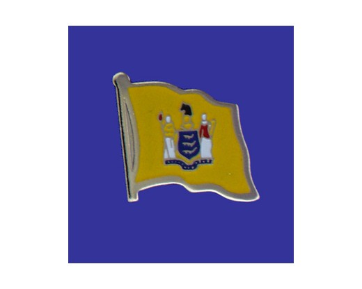 New Jersey State Flag Lapel Pin (Single Waving Flag) (Imported - Close Out)
