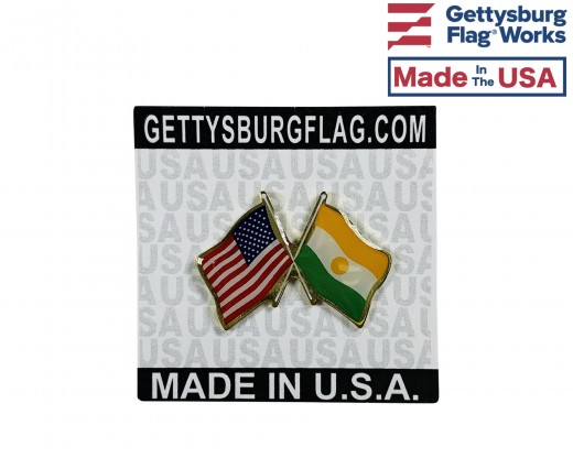 Niger Lapel Pin (Double Waving Flag w/USA)
