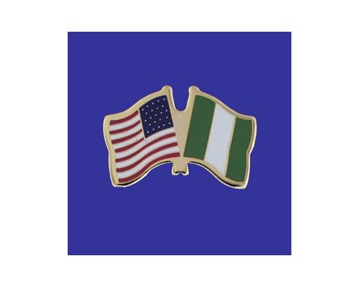 Nigeria Lapel Pin (Double Waving Flag w/USA)