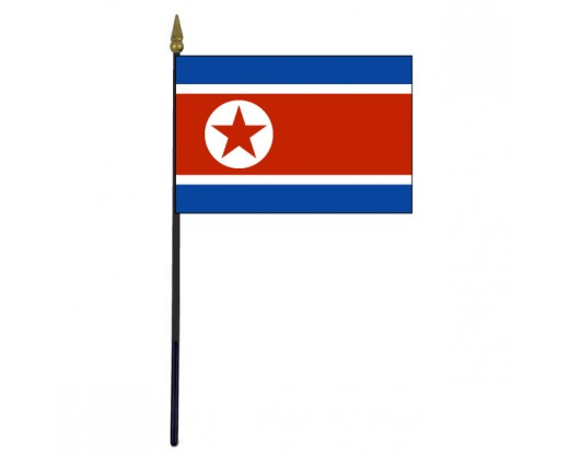 North Korea Stick Flag - 4x6""