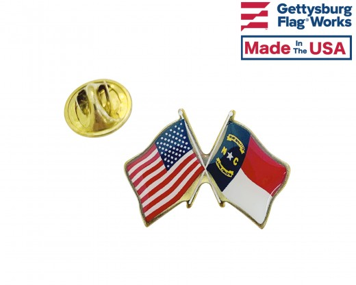 North Carolina State Flag Lapel Pin (Double Waving Flag w/USA)