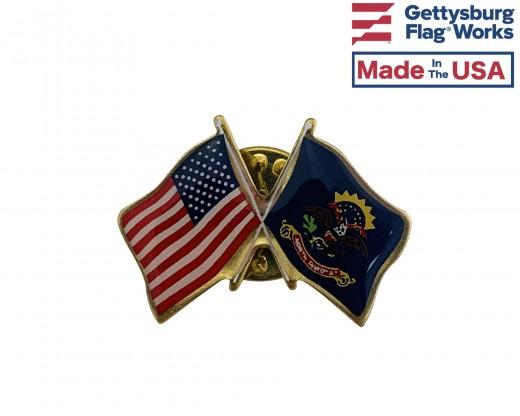 North Dakota State Flag Lapel Pin (Double Waving Flag w/USA)