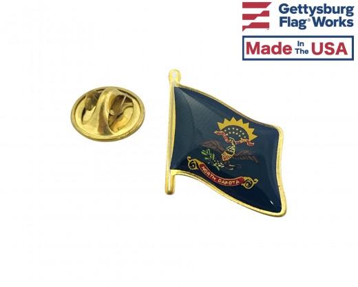 North Dakota State Flag Lapel Pin (Single Waving Flag)