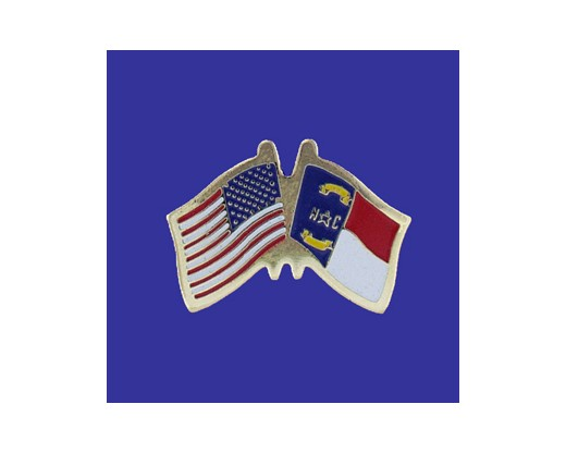 North Carolina State Flag Lapel Pin (Double Waving Flag w/USA) (Imported - Close Out)