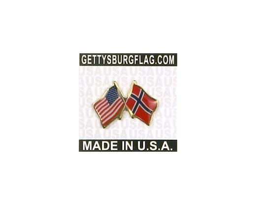 Norway Lapel Pin (Double Waving Flag w/USA)