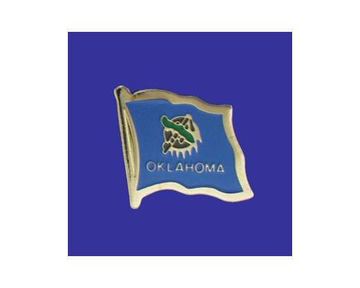 Oklahoma State Flag Lapel Pin (Single Waving Flag) (Imported - Close Out)