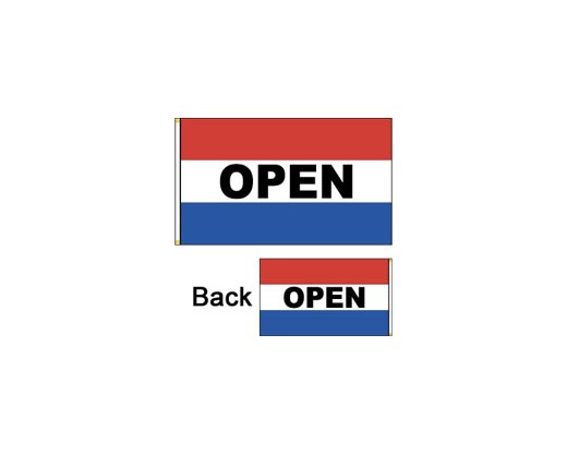OPEN Flag, Red, White & Blue, Horizontal, Double-Sided - 3x5'
