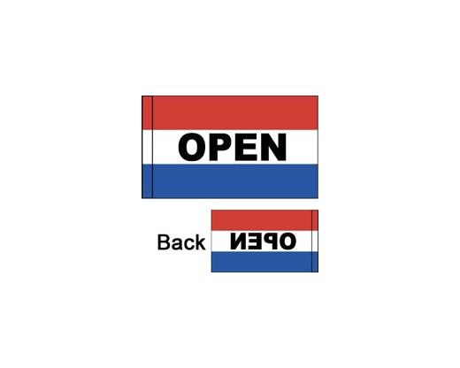 OPEN Flag, Red, White & Blue, Horizontal - 3x5'