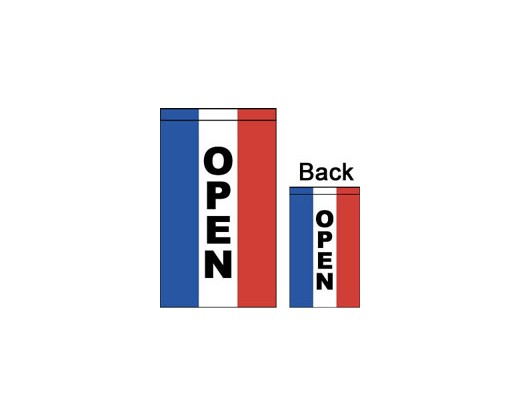 OPEN Flag, Red, White & Blue, Vertical, Double-Sided - 2x3'