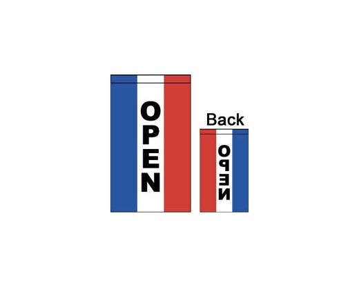 OPEN Flag, Red, White & Blue, Vertical - 2x3'