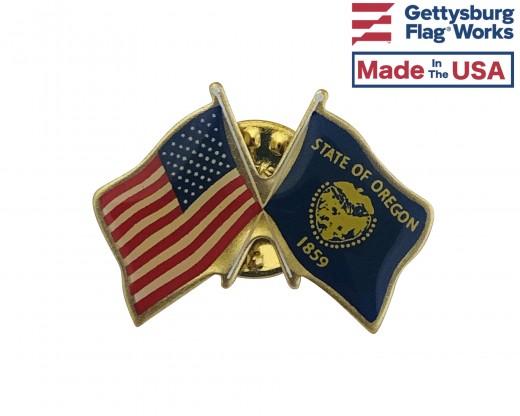 Oregon State Flag Lapel Pin (Double Waving Flag w/USA)