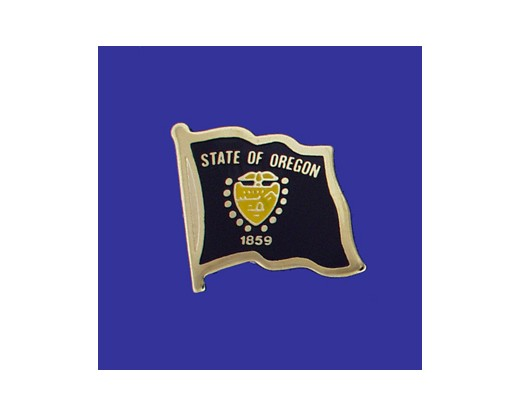 Oregon State Flag Lapel Pin (Single Waving Flag) (Imported - Close Out)
