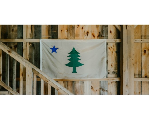 original maine flag on wall