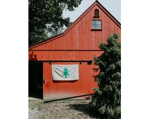 original maine flag on barn