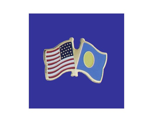 Palau Lapel Pin (Double Waving Flag w/USA)